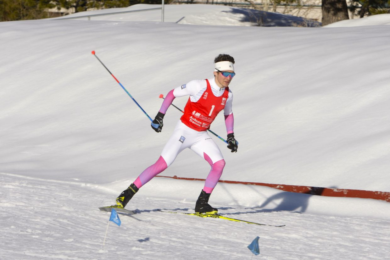 Sugar Bowl Academy senior Nate Cutler races to a win at the Truckee Sprints on Friday.