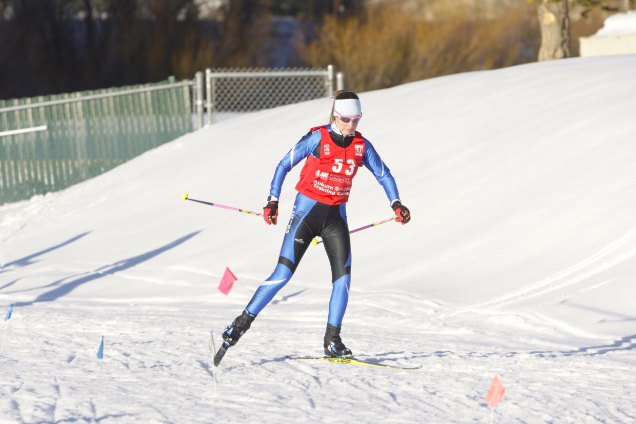 North Tahoe sophomore Alani Powell races to a first-place finish at the Truckee Sprints on Friday.